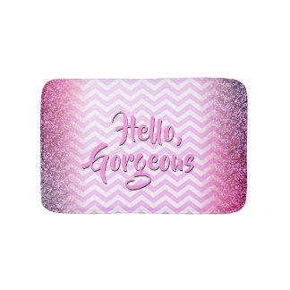 Hello Gorgeous Girly Pink White Chevrons Glitter Bath Mat
