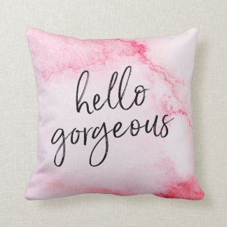 hello gorgeous hand-lettered watercolour pillow