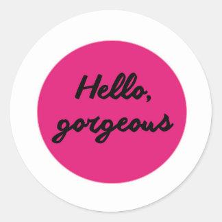 hello gorgeous .jpg classic round sticker