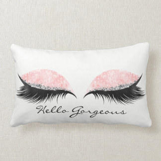Hello Gorgeous Pink Rose Black Lashes Makeup Name Lumbar Pillow