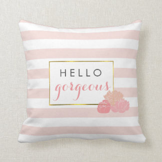 Hello Gorgeous Pink Stripe & Blush Peony Floral Throw Pillow