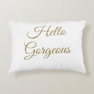 hello gorgeous text decorative pillow