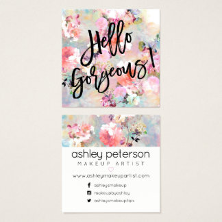 Hello Gorgeous typography floral watercolor Square Business Card