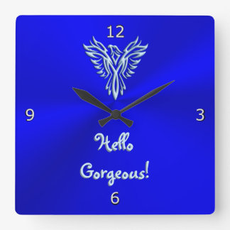 Hello Gorgeous with Ice Blue Rising Phoenix Emblem Wallclock