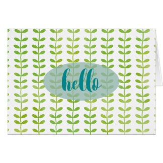 Hello Green Leaves Notecard Note Card
