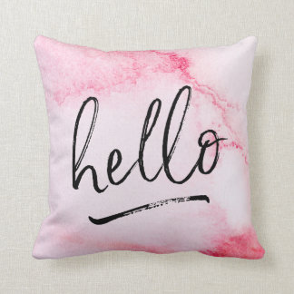 hello hand-lettered pink watercolour pillow