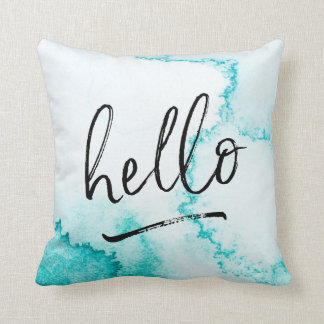 hello hand-lettered turquoise watercolour pillow