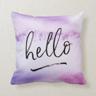 hello hand-lettered violet watercolour pillow