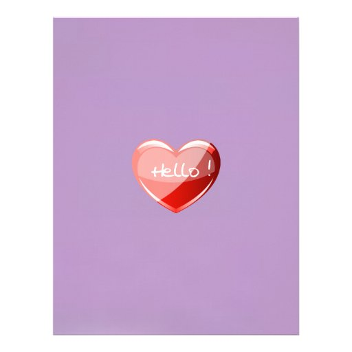 Hello! Heart On African Violet Background Pattern Letterhead Template