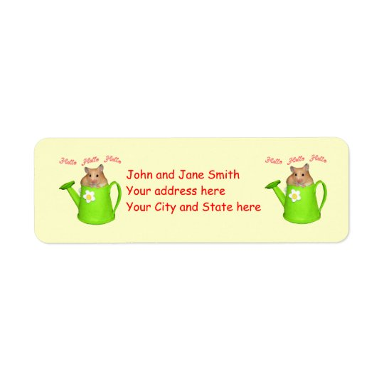 Hello hello hamster return address label