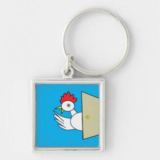 Hello!  Hello! Silver-Colored Square Keychain