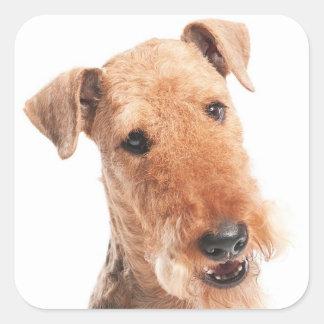 Hello / Hi  Airedale Puppy Dog  Sticker / Label