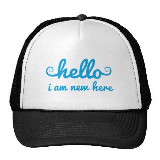 hello, I am new here, text design for baby shower, Mesh Hats