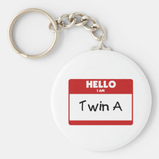 Hello I Am Twin A Basic Round Button Keychain