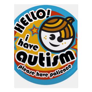 HELLO I HAVE AUTISM - AWARENESS POSTCARD