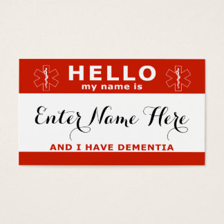 HELLO i have dementia emergency contact card