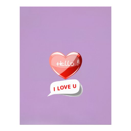 Hello I Love U! Heart On African Violet Background Customized Letterhead
