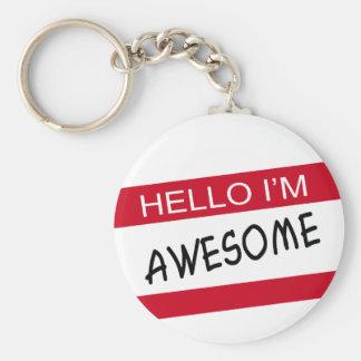 Hello Im Awesome Basic Round Button Keychain