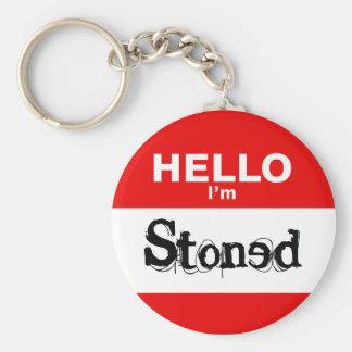 Hello I'm Stoned Funny Nametag Keychain