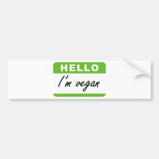 Hello I'm Vegan Bumper Sticker