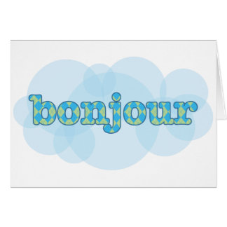 Hello in french bonjour with  argyle pattern card