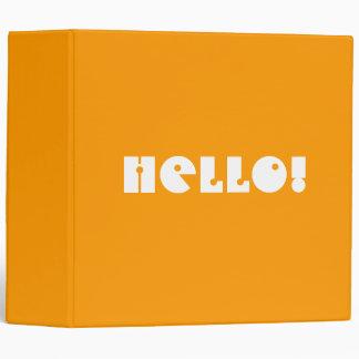 Hello!  In Orange and White. Custom Vinyl Binder