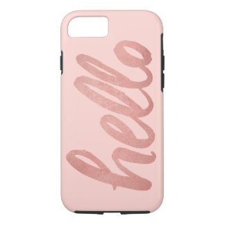 Hello in Script | Rose Gold on Blush Pink iPhone 7 Case