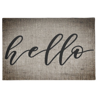 Hello in Typography Faux Burlap Door Floor Mat