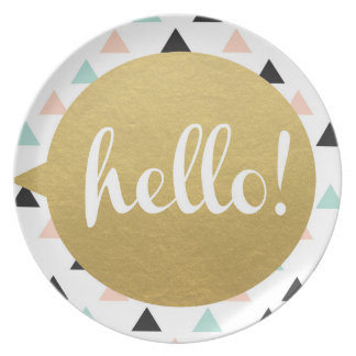 Hello Kids Melamine Plate - Modern design