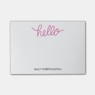 Hello Lettering Custom Post-it® Notes (Fuchsia)