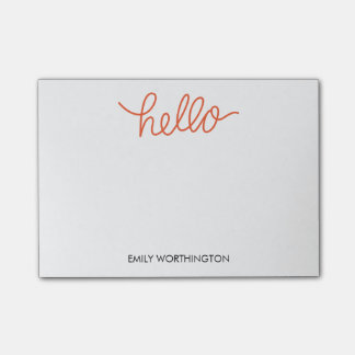 Hello Lettering Custom Post-it® Notes (Orange)