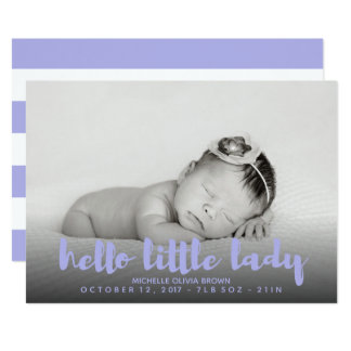 Hello little baby lavender Photo Birth Card