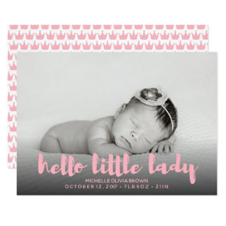 Hello little baby pink Photo Birth Announcement