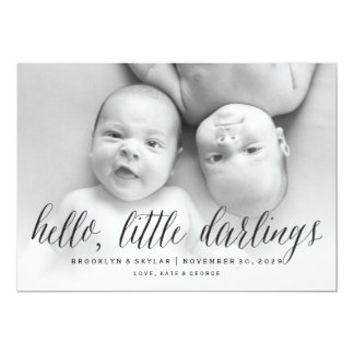 Hello Little Darlings Twins Birth Announcement
