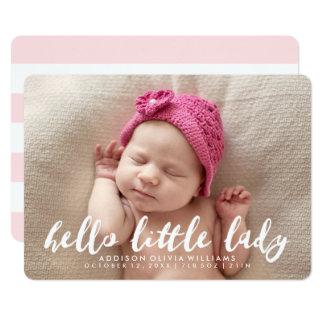 Hello Little Lady   Photo Birth Announcement