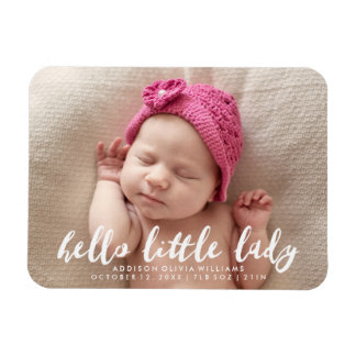 Hello Little Lady | Photo Birth Announcement Magnet