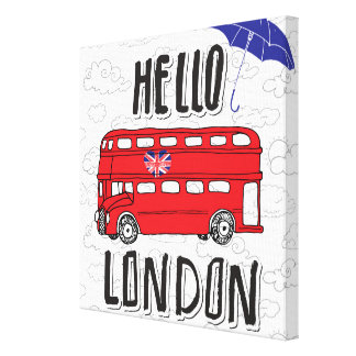 Hello London | Hand Lettered Sign With Umbrella Canvas Print