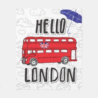 Hello London | Hand Lettered Sign With Umbrella Fleece Blanket
