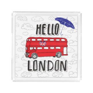 Hello London | Hand Lettered Sign With Umbrella Serving Tray