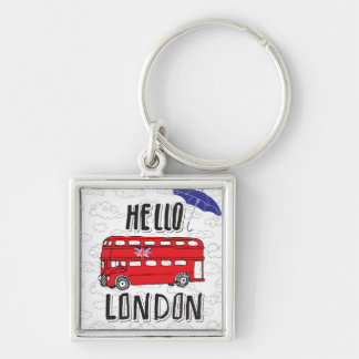 Hello London   Hand Lettered Sign With Umbrella Silver-Colored Square Keychain