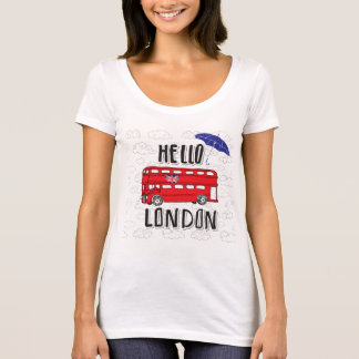 Hello London | Hand Lettered Sign With Umbrella T-Shirt