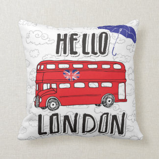 Hello London | Hand Lettered Sign With Umbrella Throw Pillow