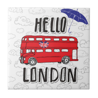 Hello London | Hand Lettered Sign With Umbrella Tiles