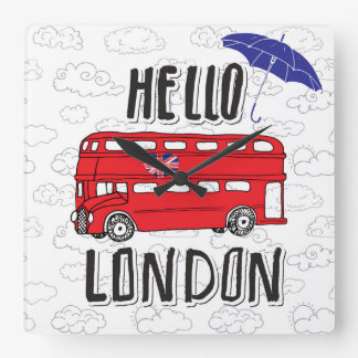 Hello London | Hand Lettered Sign With Umbrella Wall Clocks