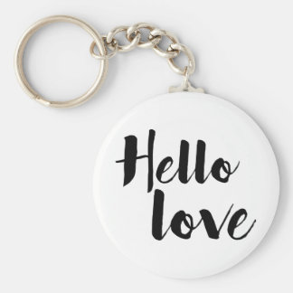 Hello Love Basic Round Button Keychain