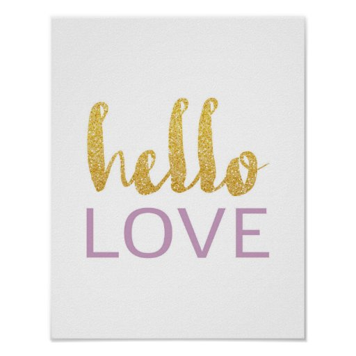 Hello Love - Gold Typography - White Poster