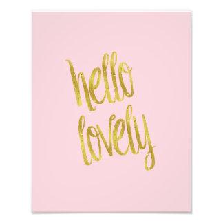 Hello Lovely Quote Faux Gold Foil Sparkle Design Photo Art