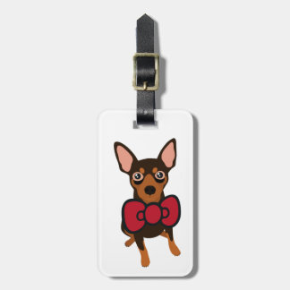 Hello Min Pin Red Bow Luggage Tag