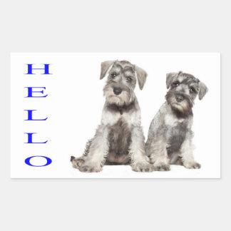 Hello Miniature Schnauzer Puppy Dog Sticker  Label