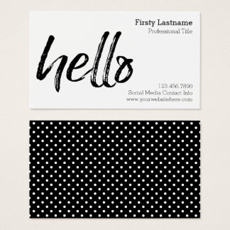 Hello - Modern and Whimsical - Black and White Business Card